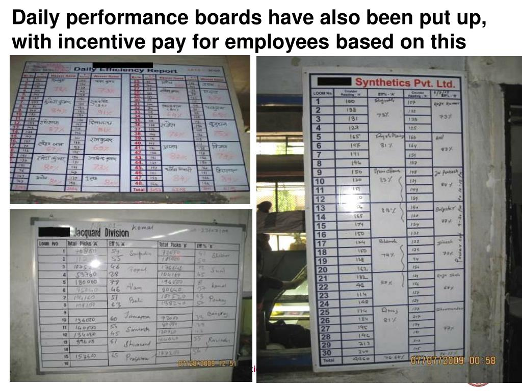 Daily performance boards have also been put up, with incentive pay for employees based on this