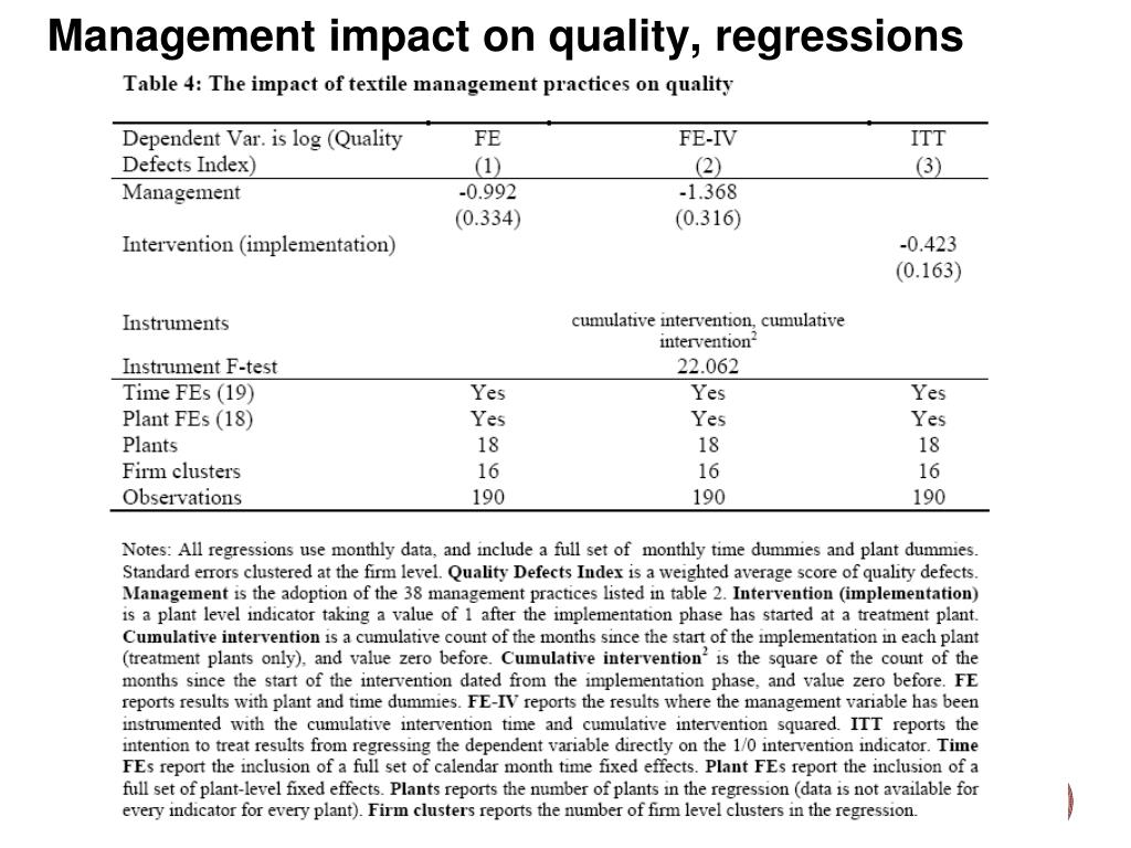 Management impact on quality, regressions