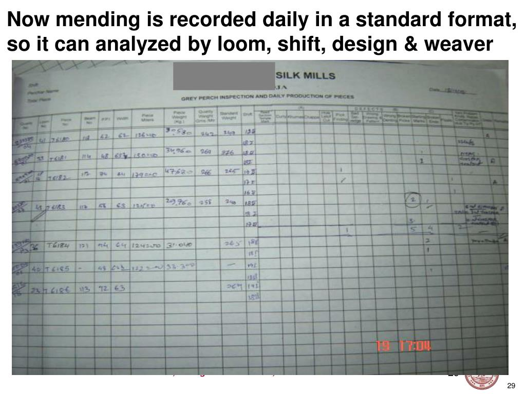 Now mending is recorded daily in a standard format, so it can analyzed by loom, shift, design & weaver
