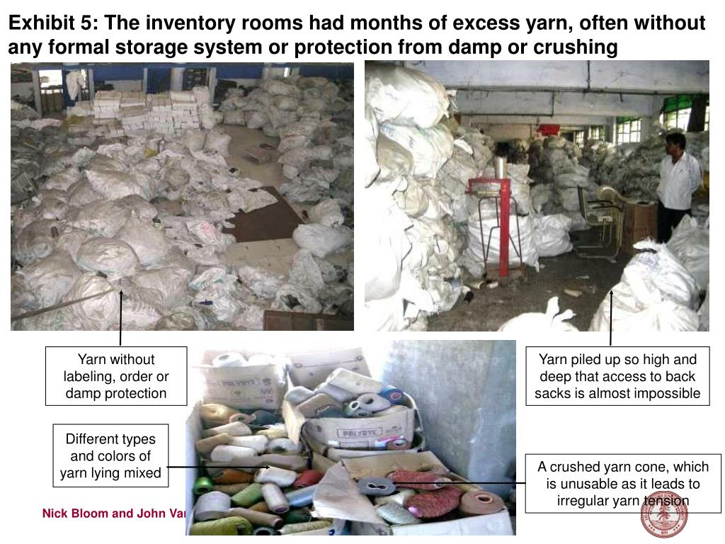Exhibit 5: The inventory rooms had months of excess yarn, often without any formal storage system or protection from damp or crushing