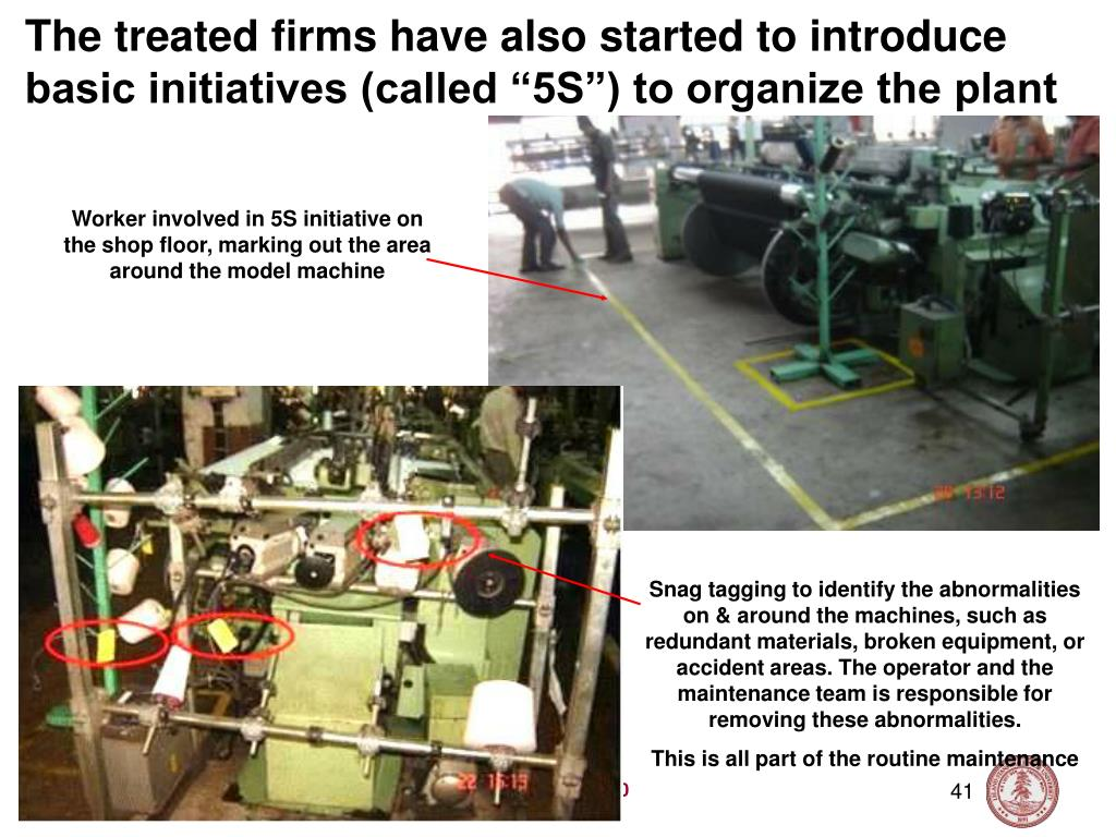 "The treated firms have also started to introduce basic initiatives (called ""5S"") to organize the plant"