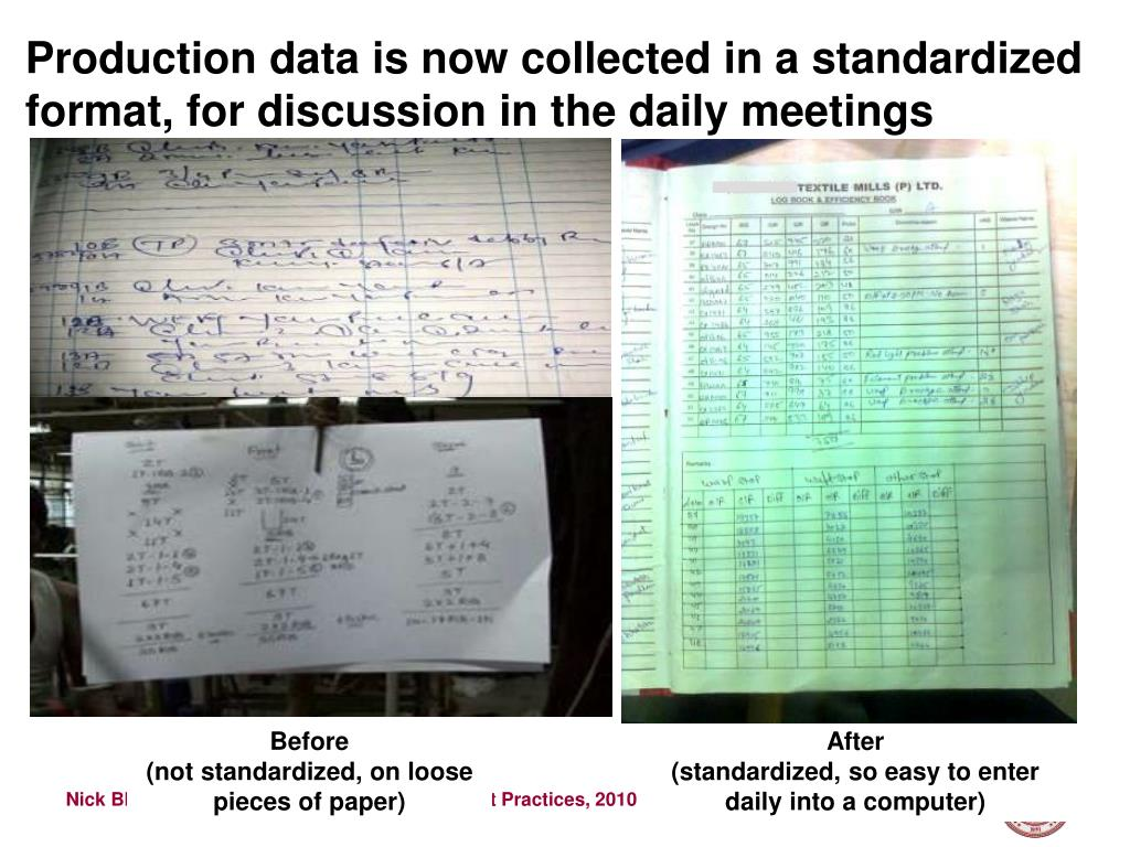 Production data is now collected in a standardized format, for discussion in the daily meetings