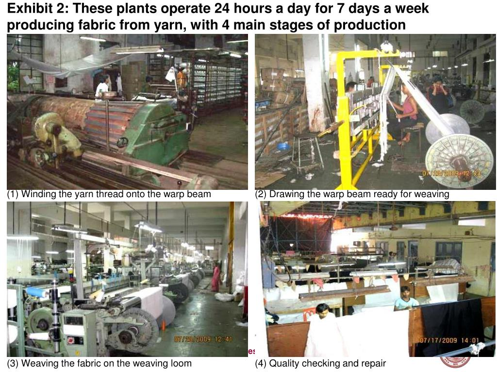 Exhibit 2: These plants operate 24 hours a day for 7 days a week producing fabric from yarn, with 4 main stages of production