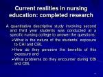 current realities in nursing education completed research