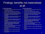 findings benefits not materialised at all