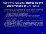 recommendations i ncreasing the effectiveness of cai cont