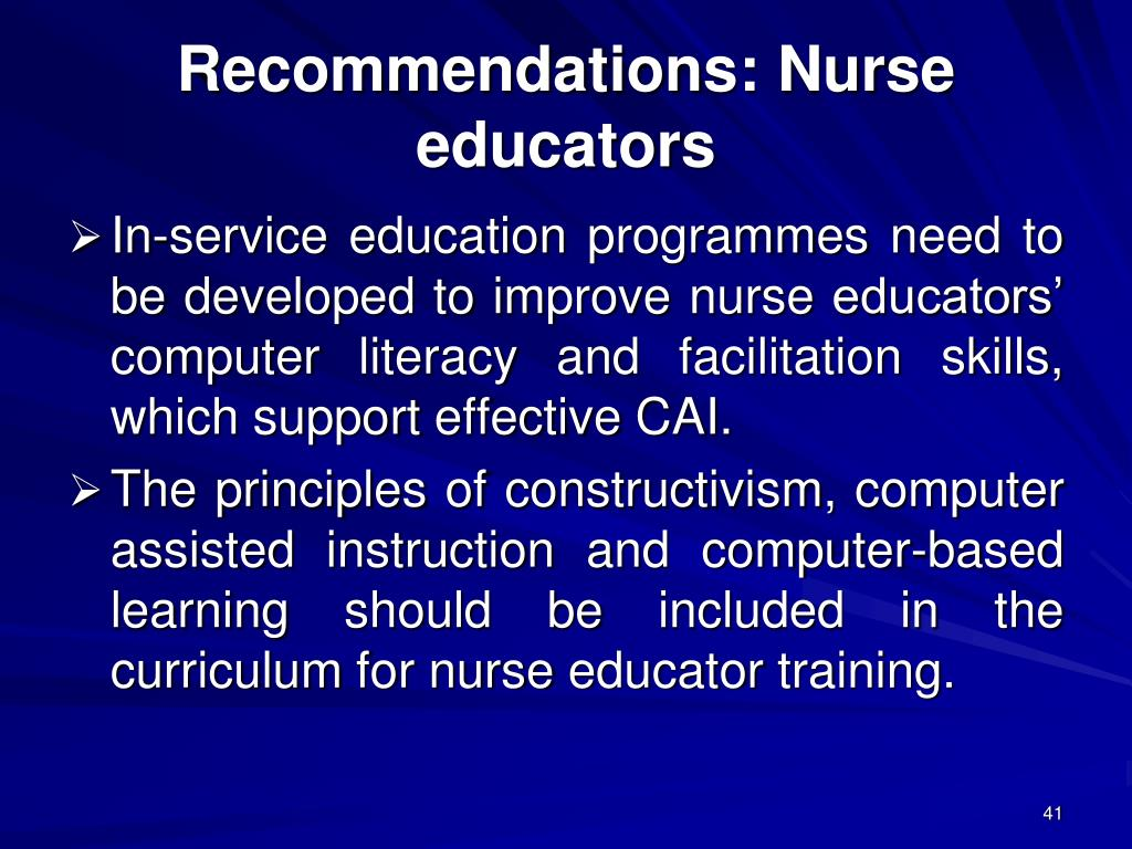 Recommendations: Nurse educators