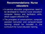recommendations nurse educators