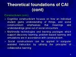 theoretical foundations of cai cont18