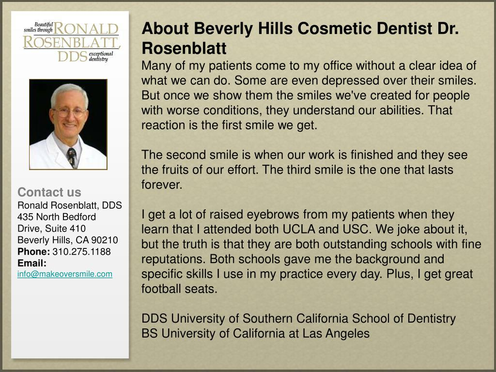 About Beverly Hills Cosmetic Dentist Dr. Rosenblatt