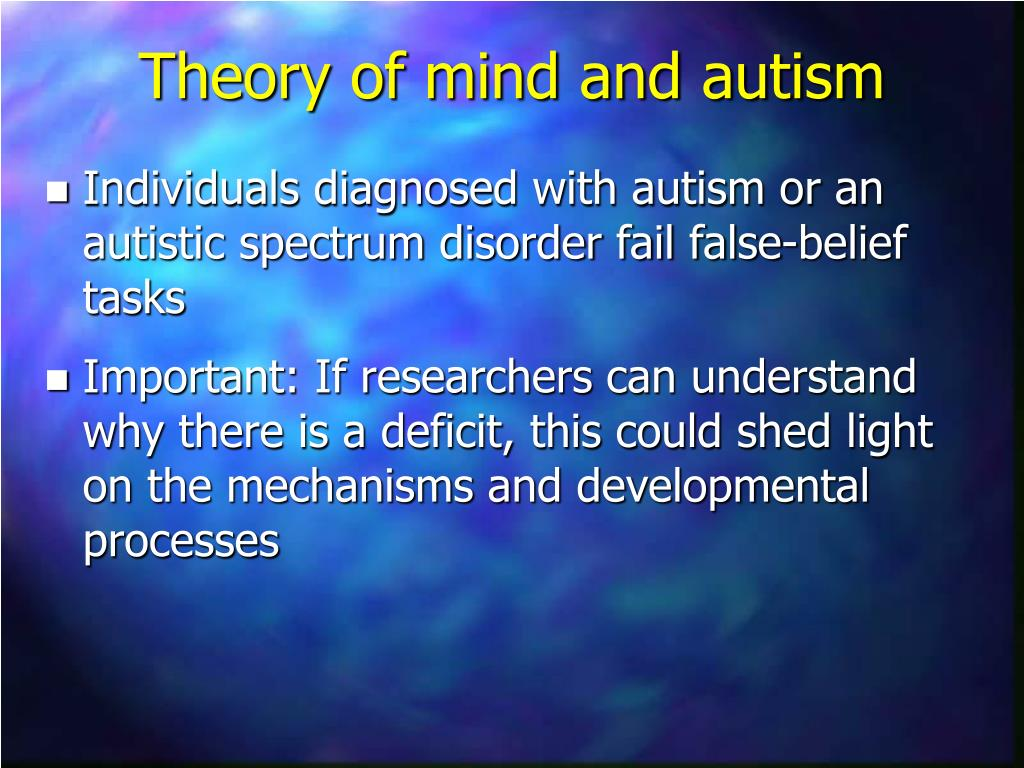 examining the theory of mind hypothesis for autism Read chapter 7 cognitive development: autism is a word the theory of mind hypothesis has been a highly examining strategies and resources needed.
