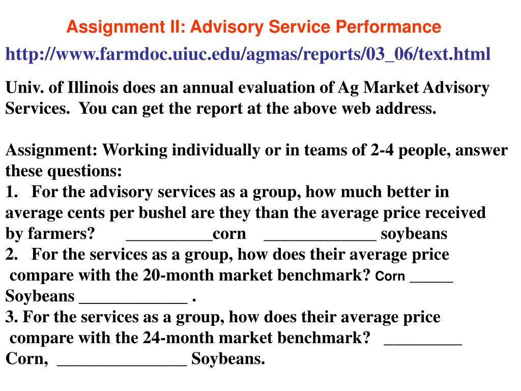 Assignment II: Advisory Service Performance