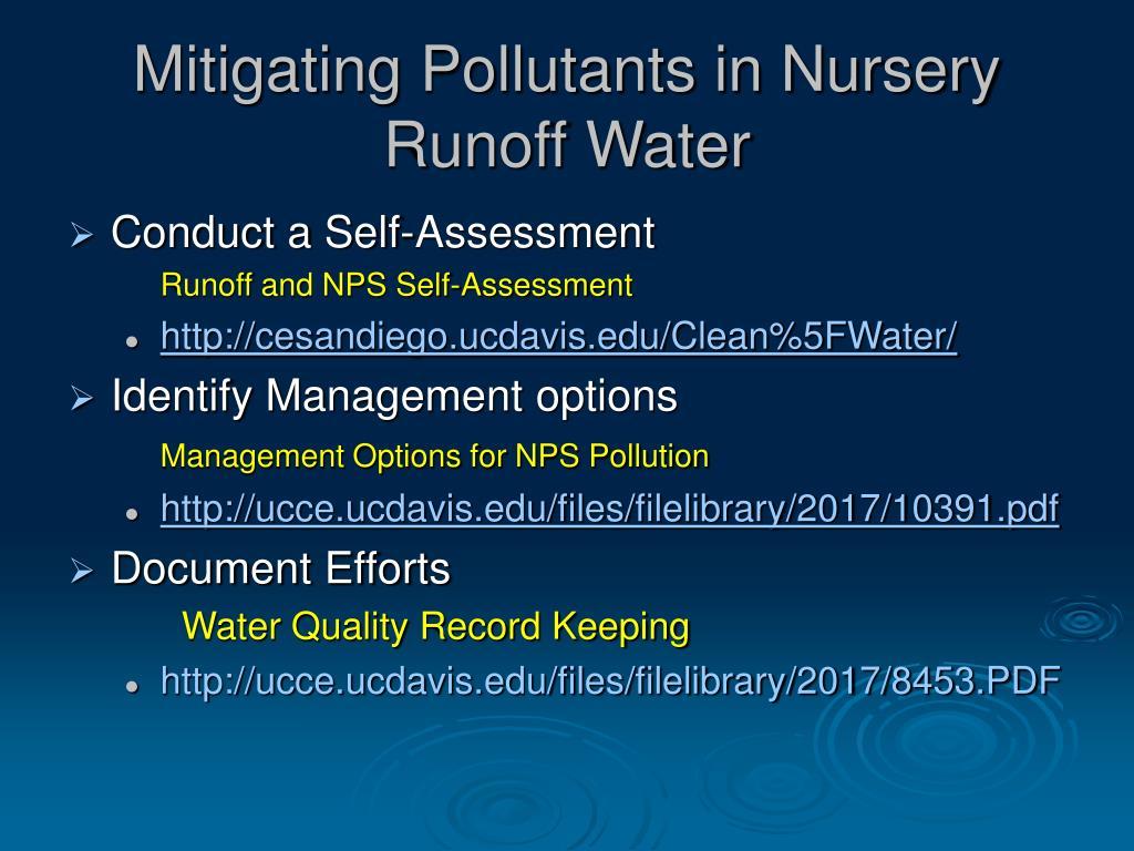 Mitigating Pollutants in Nursery Runoff Water