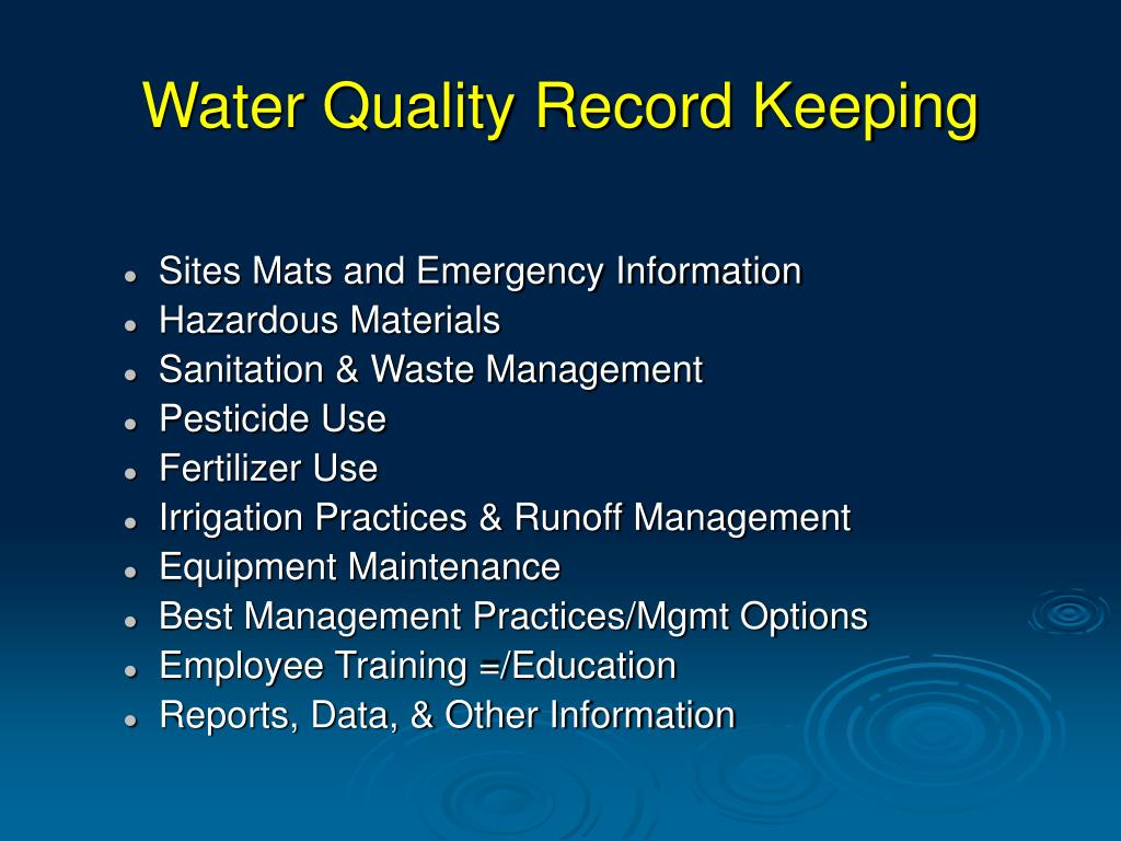 Water Quality Record Keeping
