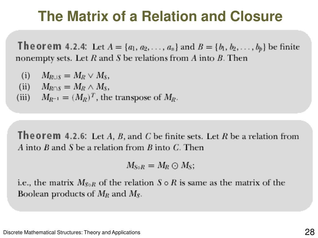 The Matrix of a Relation and Closure