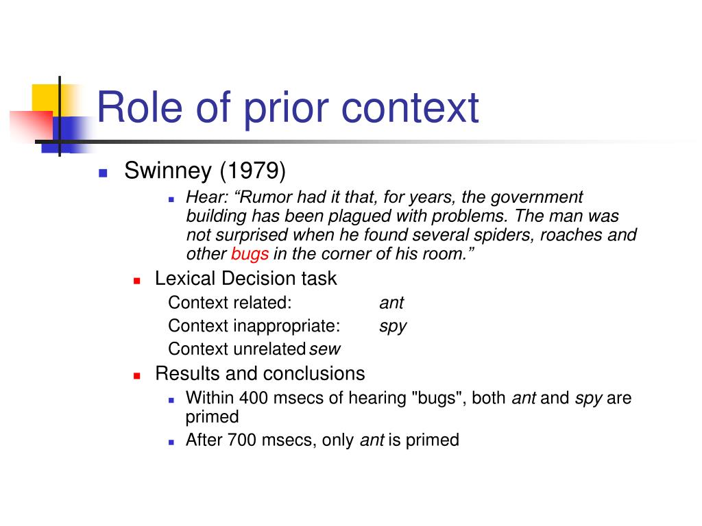Role of prior context