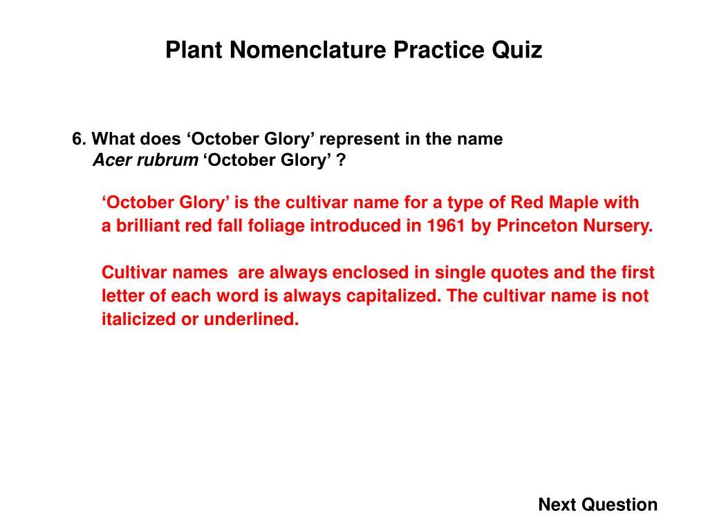 Plant Nomenclature Practice Quiz