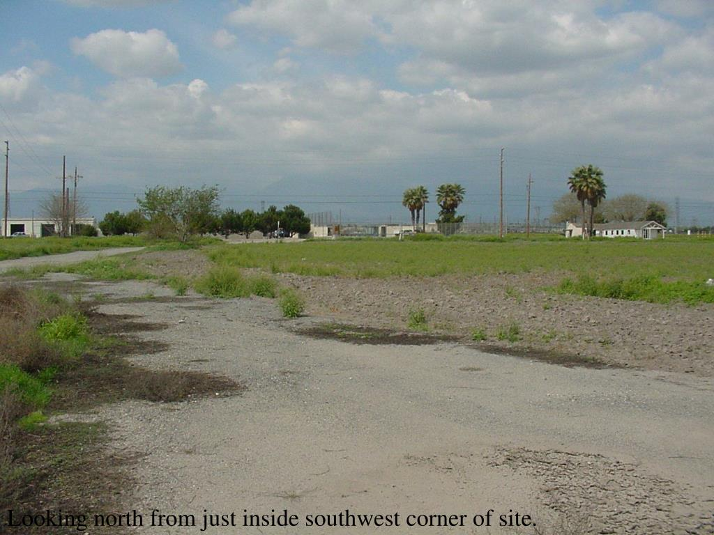 Looking north from just inside southwest corner of site.