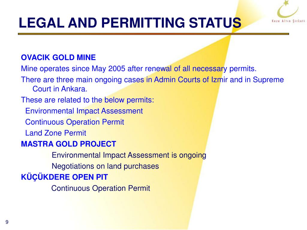 LEGAL AND PERMITTING STATUS