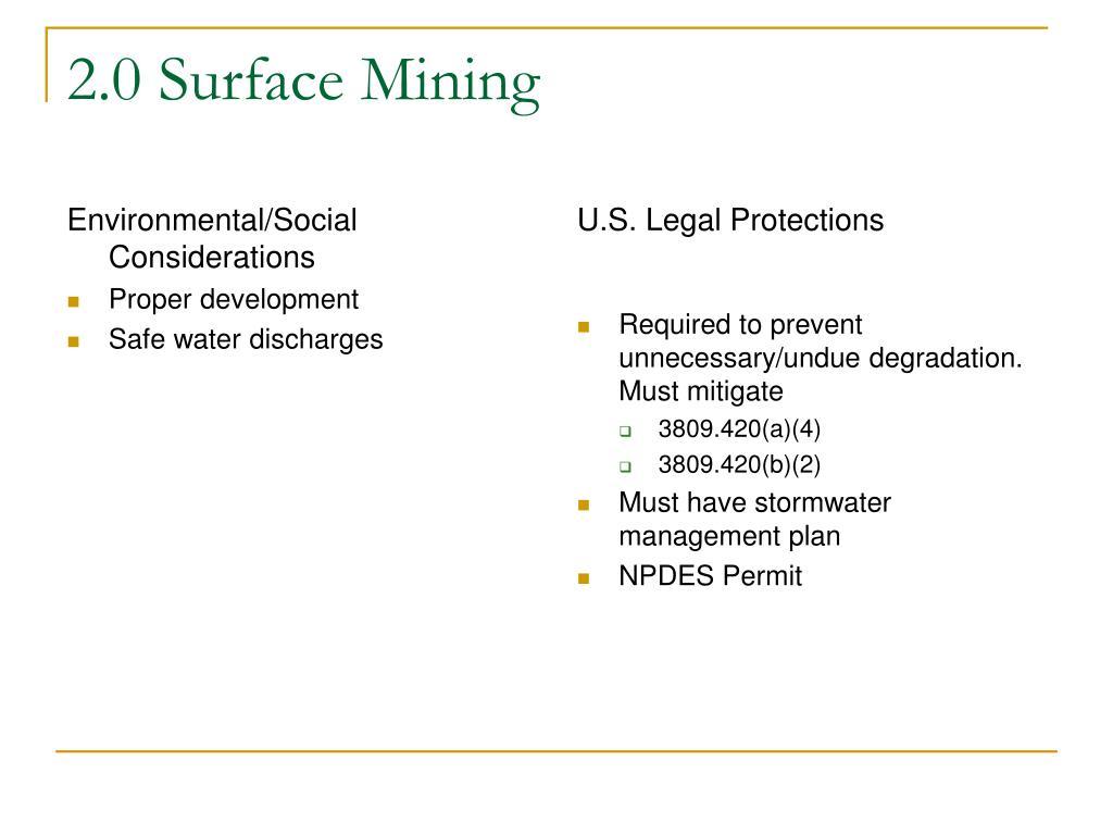 Environmental/Social Considerations