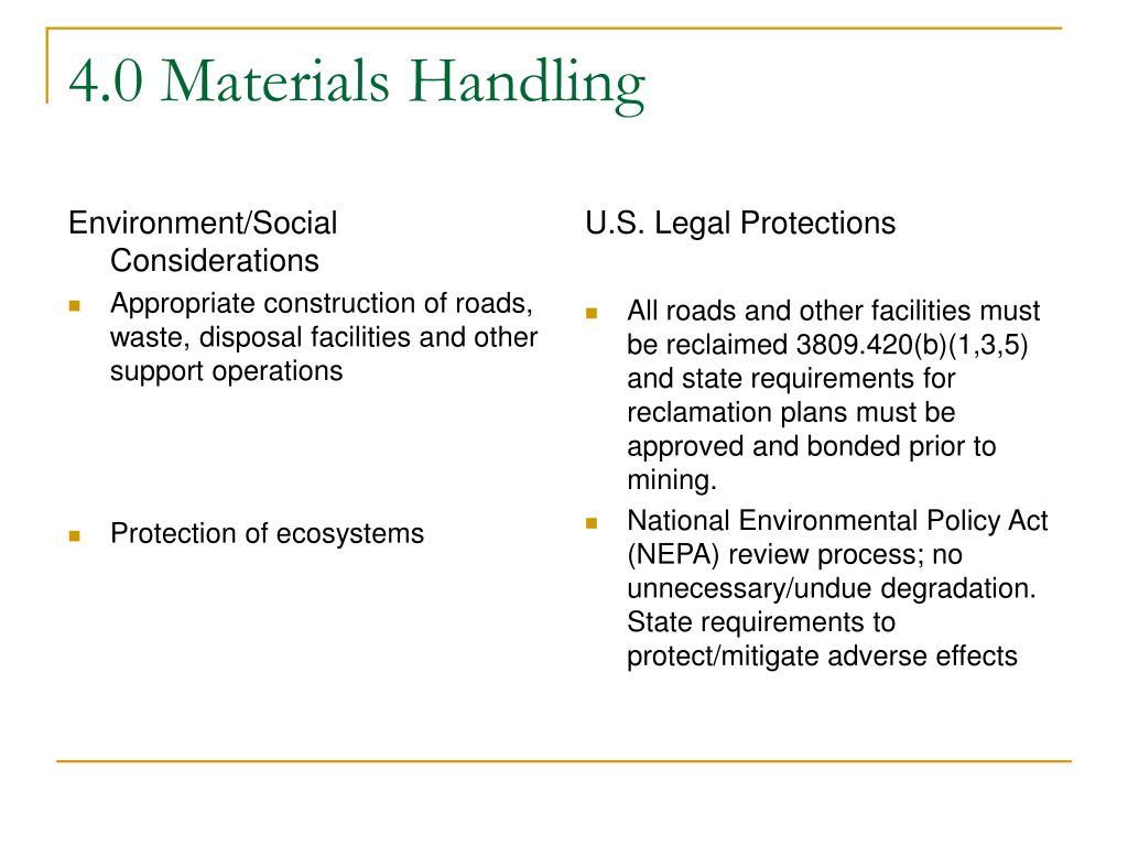 Environment/Social Considerations