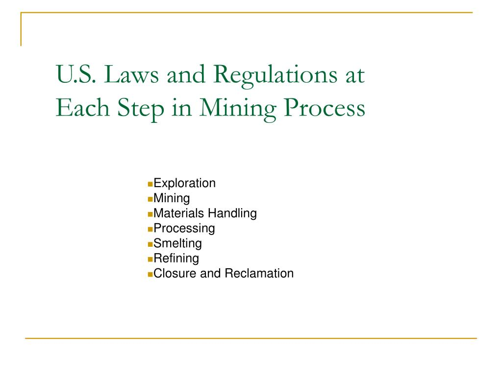 U.S. Laws and Regulations at