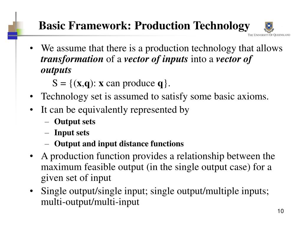Basic Framework: Production Technology