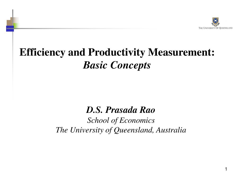 Efficiency and Productivity Measurement: