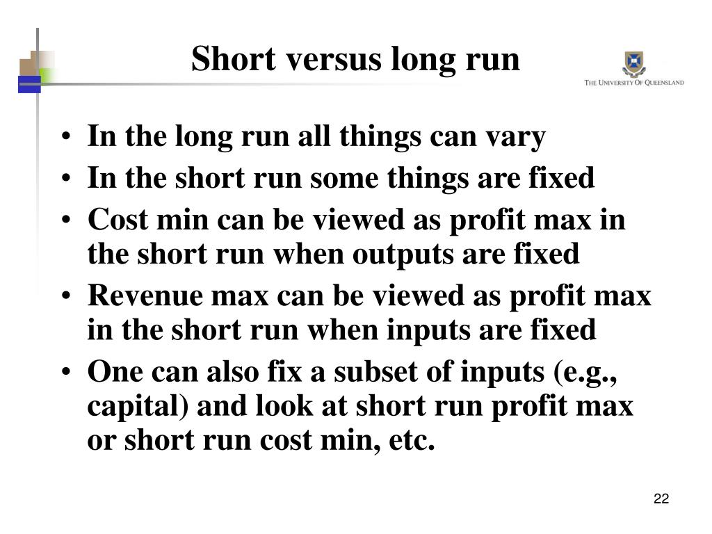 Short versus long run