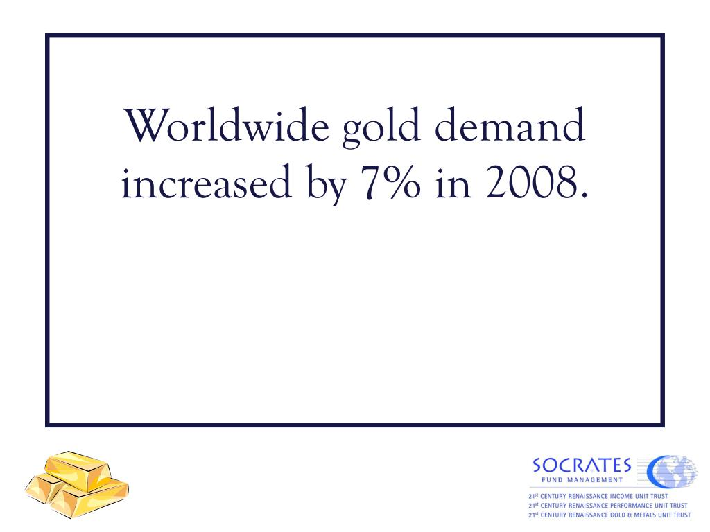 Worldwide gold demand increased by 7% in 2008.
