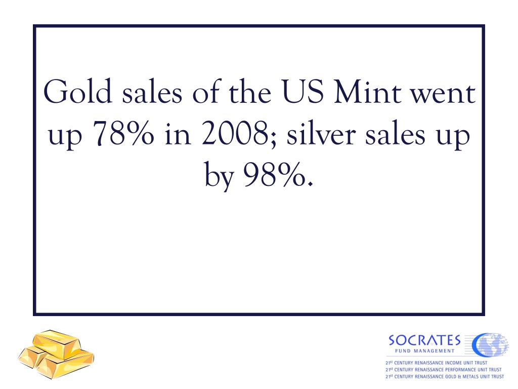 Gold sales of the US Mint went up 78% in 2008; silver sales up by 98%.
