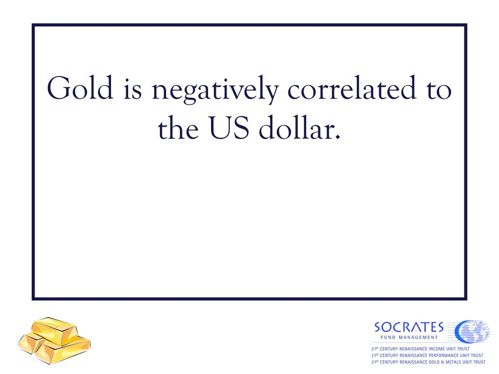 Gold is negatively correlated to the US dollar.