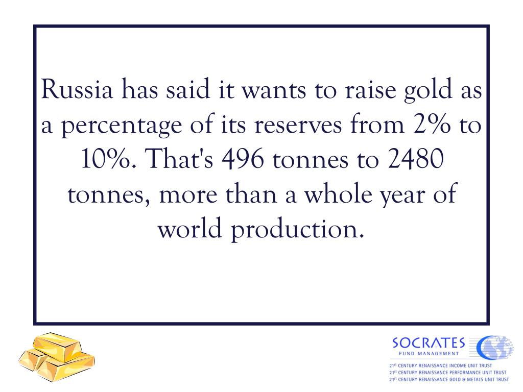 Russia has said it wants to raise gold as a percentage of its reserves from 2% to 10%. That's 496 tonnes to 2480 tonnes, more than a whole year of world production.