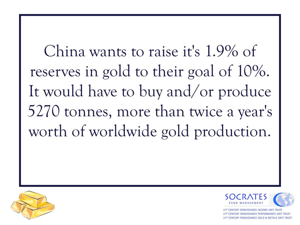 China wants to raise it's 1.9% of reserves in gold to their goal of 10%. It would have to buy and/or produce 5270 tonnes, more than twice a year's worth of worldwide gold production.