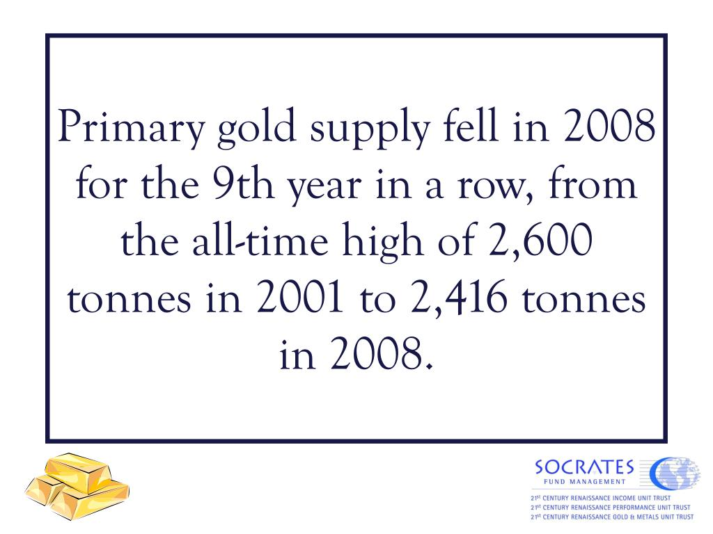 Primary gold supply fell in 2008 for the 9th year in a row, from the all-time high of 2,600 tonnes in 2001 to 2,416 tonnes in 2008.