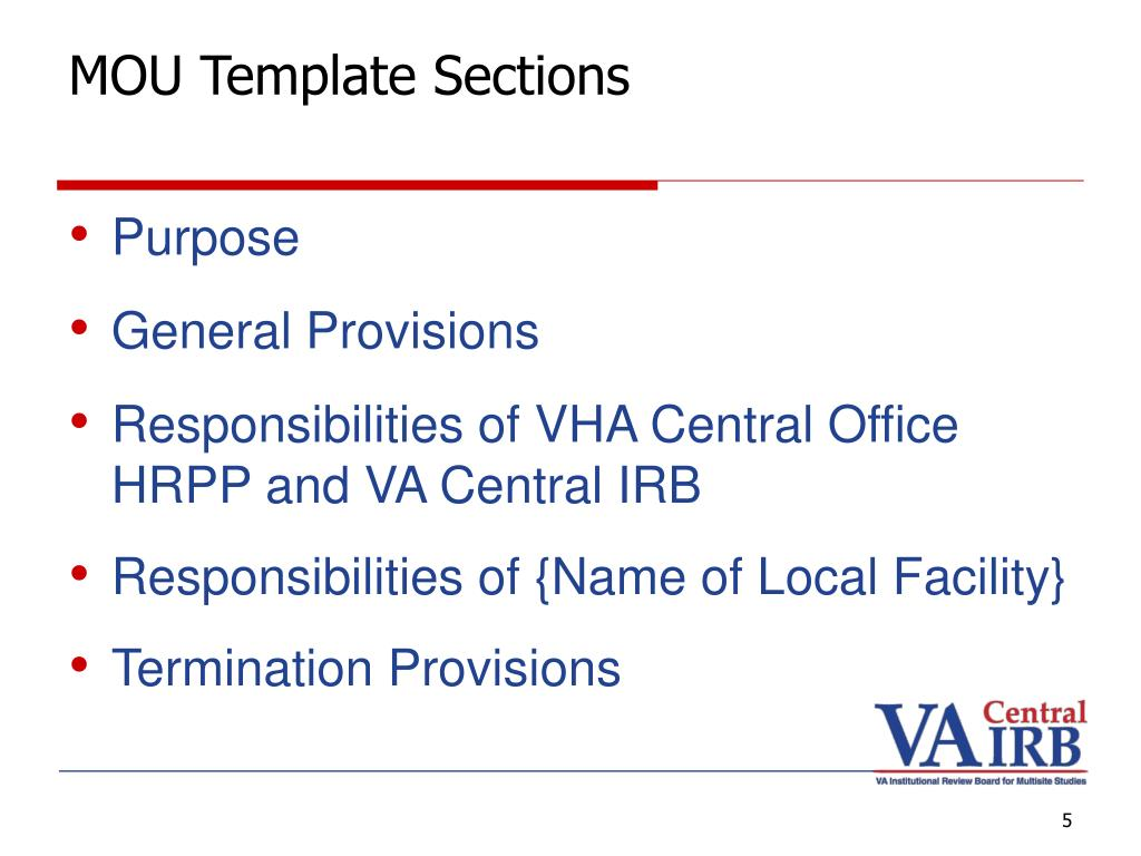 MOU Template Sections