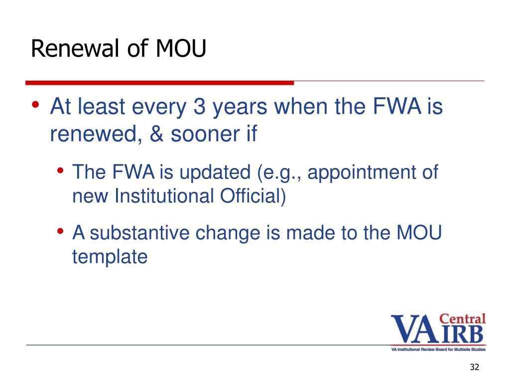 Renewal of MOU