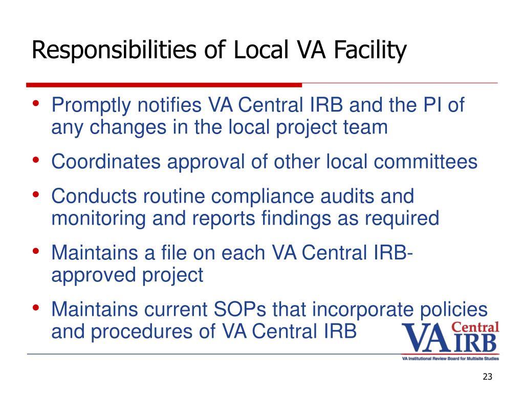 Responsibilities of Local VA Facility