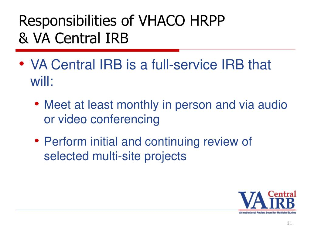 Responsibilities of VHACO HRPP