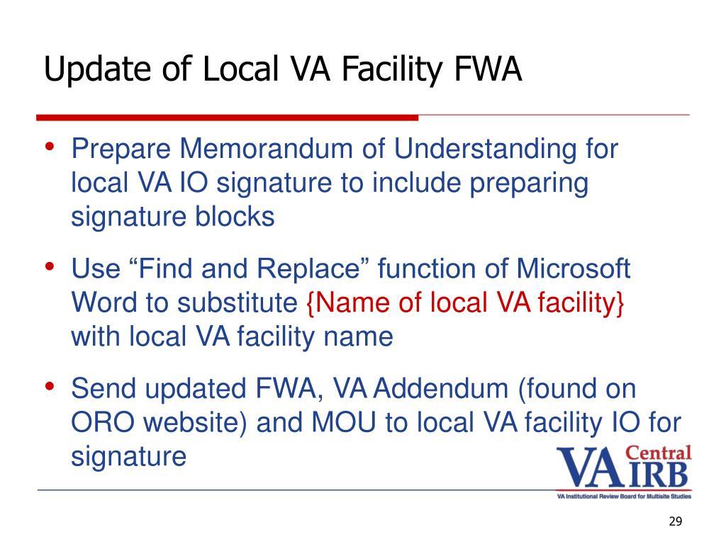 Update of Local VA Facility FWA