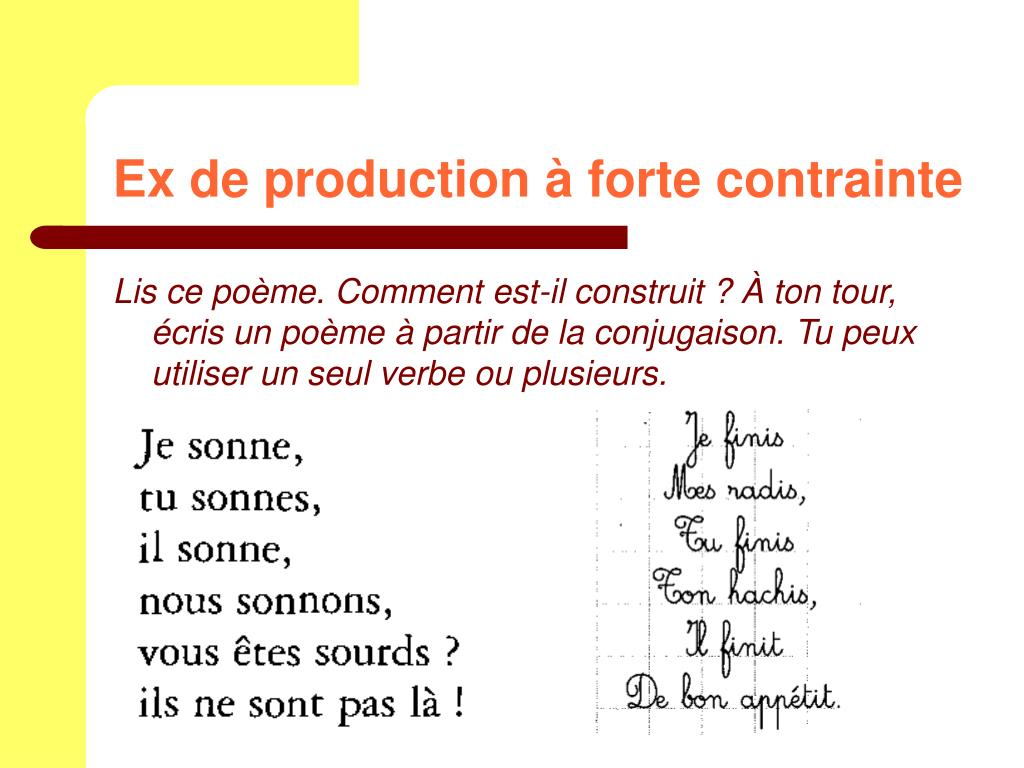 Ex de production à forte contrainte