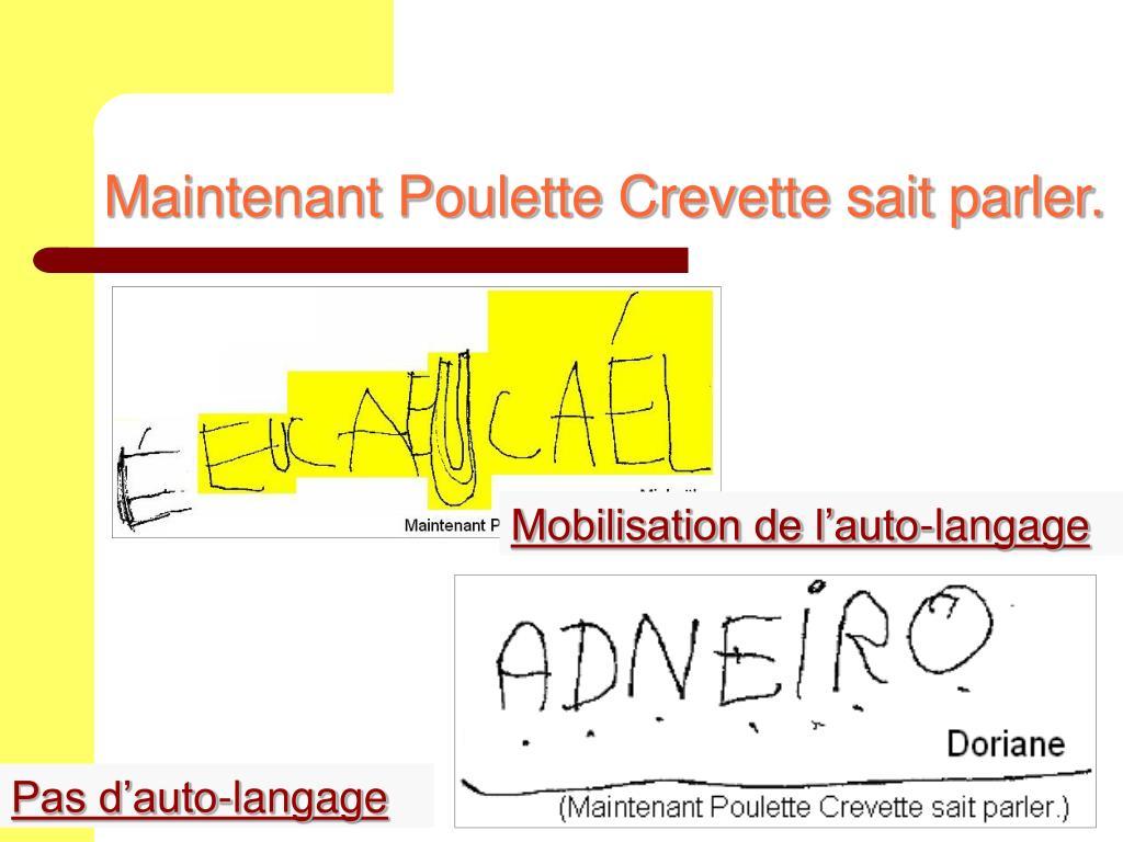 Maintenant Poulette Crevette sait parler.