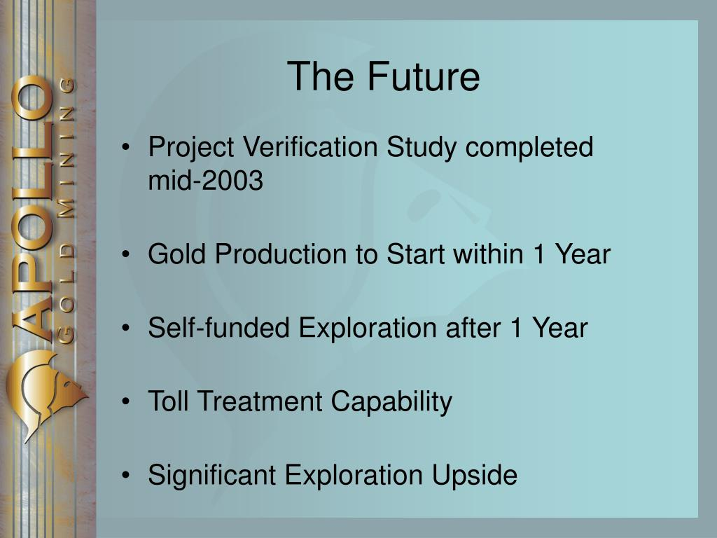 Project Verification Study completed mid-2003