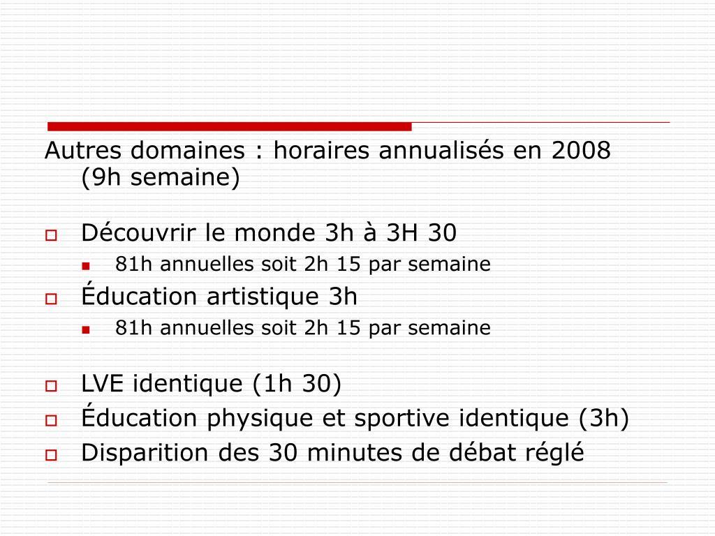 Autres domaines : horaires annualisés en 2008