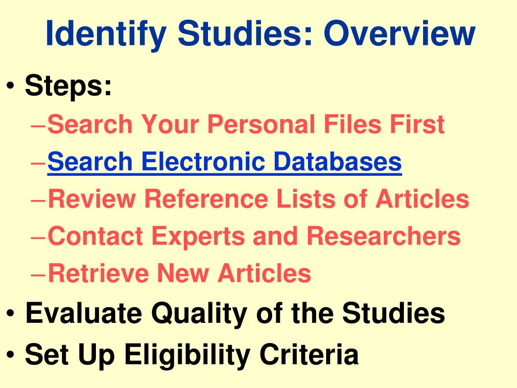 Identify Studies: Overview