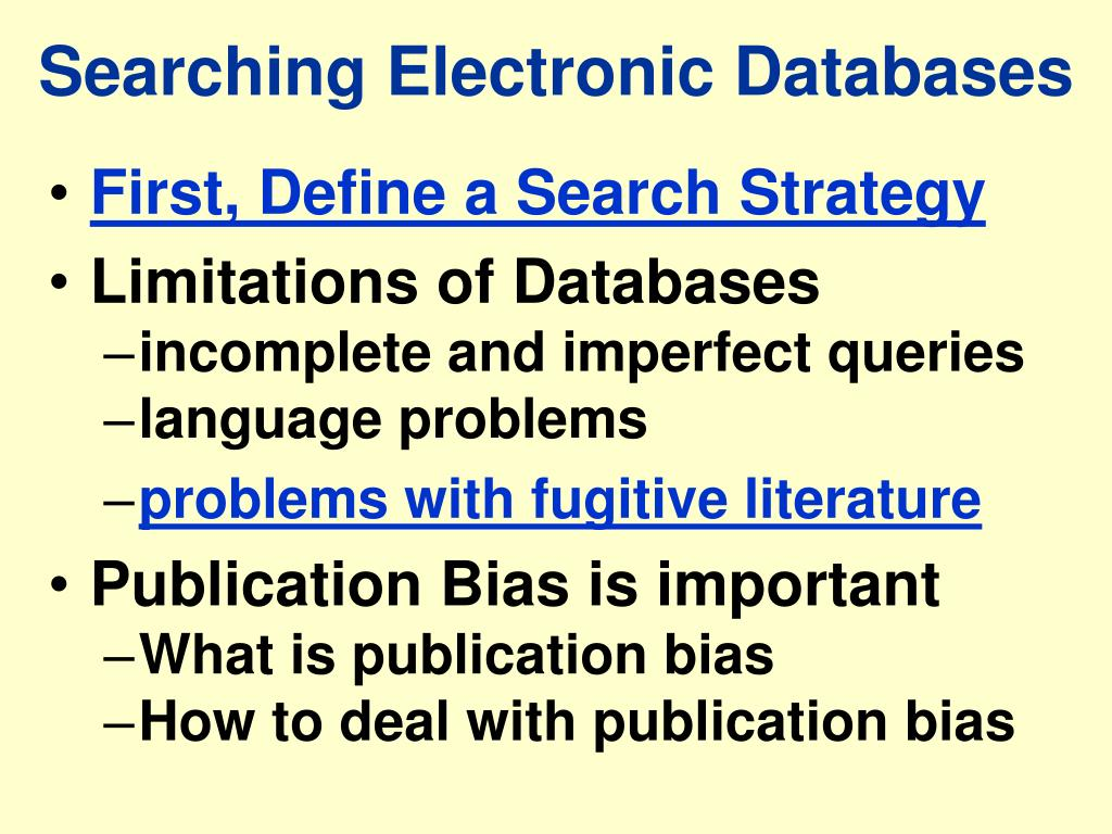 Searching Electronic Databases
