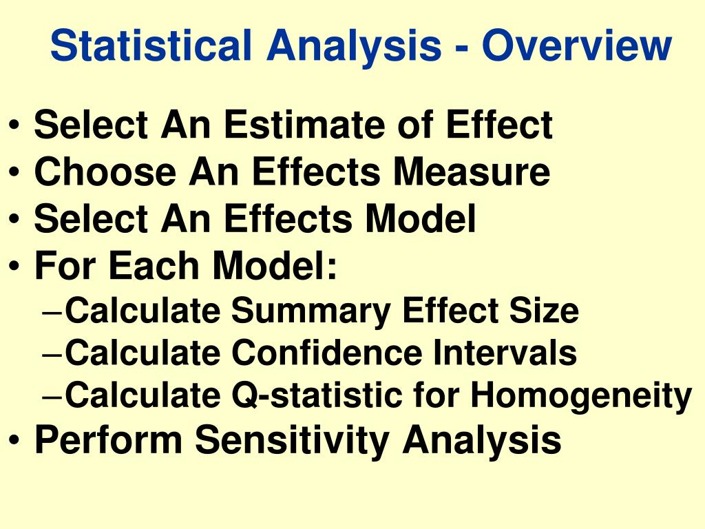 Statistical Analysis - Overview