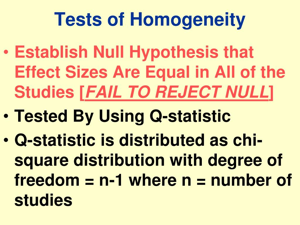 Tests of Homogeneity