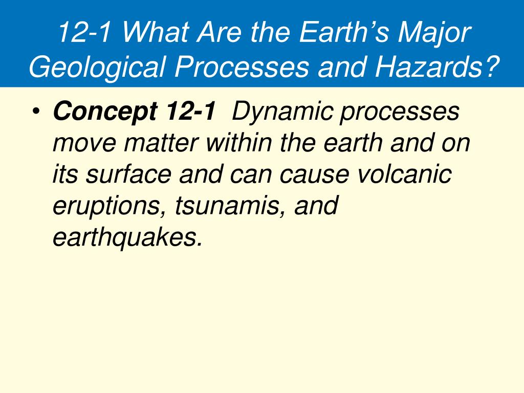 12-1 What Are the Earth's Major Geological Processes and Hazards?