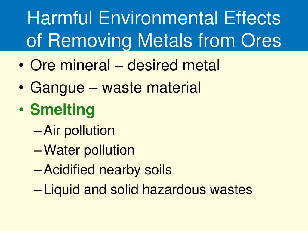 Harmful Environmental Effects of Removing Metals from Ores